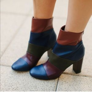 ASOS End It On This colorblock heel ankle boots